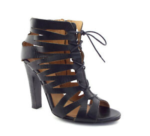 DIESEL Black Gold BEA Size 8.5 Lace Up High Ankle Side Heels Sandals Shoes 39