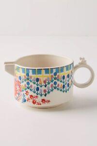 New Anthropologie Floral Stoneware Mason Creamer Microwave Dishwasher Safe 11oz