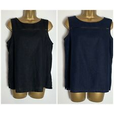 Next Navy or Black Linen Blend Crochet Detail Shell Top (n-94h)