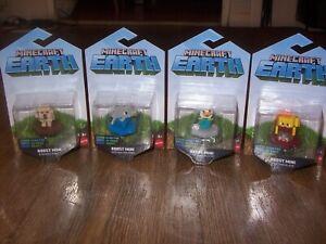 Lot 4 NEW Minecraft Earth Boost Mini Action Figures-Golem/Blaze/Dolphin/Chicken