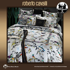 Roberto Cavalli Set Lenzuola matrimoniale in Raso Bird Ramage
