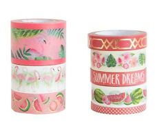 Michaels Craft Smart Planner Washi Tape Tube set -Tropical Life PINK Gold Summer