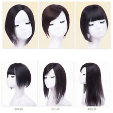 Clip In 100% Remy Human Hair Hairpiece Top Piece Toupee Extensions Topper Women