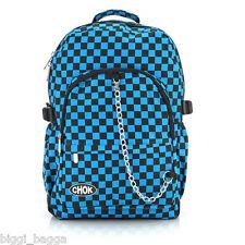 BLACK BLUE CHECKER BACKPACK RUCKSACK Check Goth Skate School College CHOK Bag