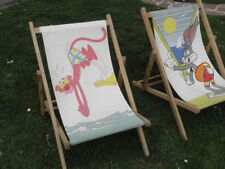 vintage Transat Chilienne folding chairs deckchair Pink panther and Bugs Bunny