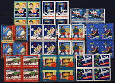 1940-1949 USA Christmas Seals Complete Blocks 10 Years . Mint Never Hinged