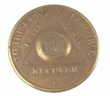 aa alcoholics anonymous bronze 28 year recovery sobriety coin token medallion.