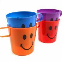Kinderbecher Kindertasse Trinkbecher mit Henkel im 4er Set mit Gesicht -4 Farben