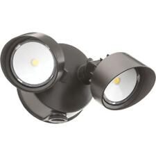 Bronze Outdoor Integrated LED Round Wall Mount Flood Light with Dusk to Dawn