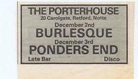 BURLESQUE / PONDERS END - PORTERHOUSE press clipping 1977 (3/12/77) 9X5cm