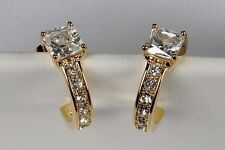 New Avon CUSHION CUT PAVE Gold CZ Hoop Earrings - Solitaire Wrap Around Stones