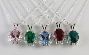 Mt St Helens Helenite Oval 10 X 8 mm Cluster Necklace Sterling 5 Color Choices