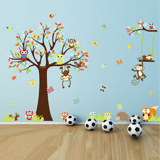 wall stickers monkey tree owl birds swing decals decor vinyl baby zoo animal