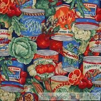 BonEful FABRIC FQ Cotton Quilt Country Farm Market Green Vegetable Red Tomato US