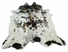 Large Cowhide Rug Tricolor Black Brown White Speckled Brazilian 85 X 78 Inches