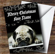 Sad Pug Black Personalised Christmas Greetings Card