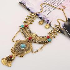 Women Pendant Chain Crystal Choker Chunky Statement Bib Necklace Jewelry Set 1#