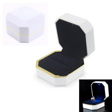 AVESON Luxury Ring Box, Square Velvet Ring Holder Case Jewellery Organiser Gift