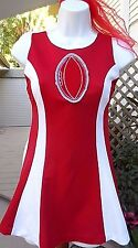 Vintage Short Red/White Cheerleader Style Mini Costume w/Football Emblem Jr 5