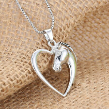 Ladies Silver Hollow Heart Charm Horse Head Pendant Jewelry Necklace 52cm Gift