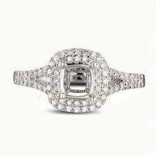 5.5mm Cushion Cut Solid 14K White Gold Natural Diamond Semi Mount Ring Setting