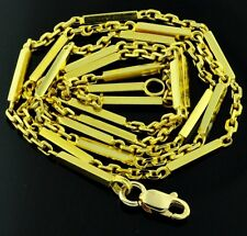 9.10 Grams 18K Solid Yellow Gold Bar Chain Link Necklace Chain Pre owned Lobster