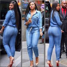 UK Womens Plus Size V-neck Denim Blue Jeans Jumpsuit Bandage Ladies Playsuit New