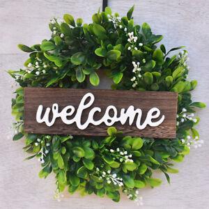 Artificial Eucalyptus Wreath Flower Garland Front Door Welcome Sign for Home