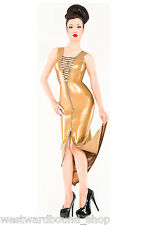 Rubber Latex Westward Bound COCKTAIL DRESS 18 UK *PEARLSHEEN GOLD* SECONDS