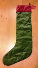 POTTERY BARN GREEN & RED VELVET LARGE CHRISTMAS STOCKING - NEW WITH TAGS