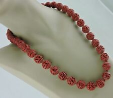 CHINESE RED CARVED CINNABAR NECKLACE HAND KNOTTED BEAD SILVER CLASP