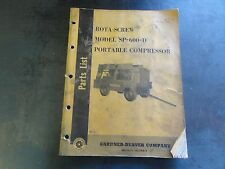 Gardner Denver Rota-Screw Model SP-600-D Portable Compressor Parts List