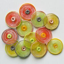RachelArt Lampwork Glass Spiral Disc Beads Gray, Salmon, Yellow, Green Handmade