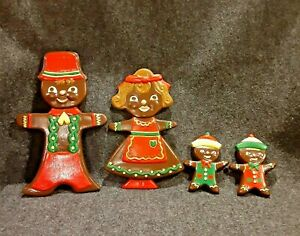 Set of 4 Gingerbread Cookie Family Ceramic Jamaican Wall Art Painted Christmas
