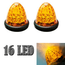2X 16 LED Amber Beehive Side Marker Warning Lights Cab Top Roof Trailer Truck