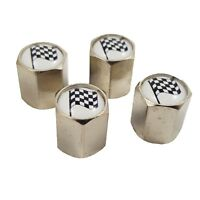 Set of 4 Checkered Finishing Flag Metal Wheel Tyre Air Dust Valve Caps TVC108