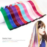 10Pcs 18'' Clip in Synthetic Hair Extensions Straight Colored Highlight Pieces
