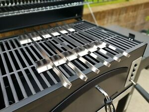 Stainless Steel BBQ Kebab 6 Skewers Set with Rack and Nylon Pouch. L 41cm, W 1cm