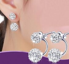 8mm/6mm Sterling Silver Shambhala Disco Ball Crystal Stud Earrings Gift Box F17