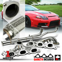 Set Stainless Steel Exhaust Header For Mitsubishi 91-99 3000Gt Non-Turbo Look