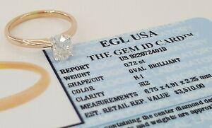 0.72 ct 14K Rose Gold Oval Cut Diamond Engagement Ring EGL-USA Rtl $3,510