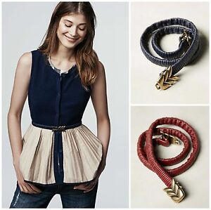 NEW Anthropologie Canyon Belt, Navy- M, L, Wine - S, Brass Buckle Elastic