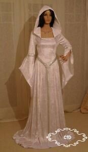 Elven forest medieval wedding dress, white celtic gown in crushed velvet.