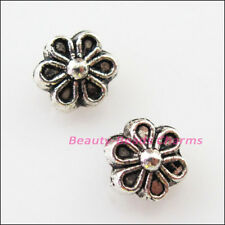 40Pcs Tibetan Silver Tone Flower Spacer Beads Charms 6mm