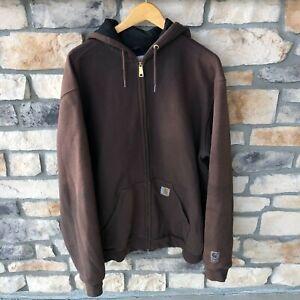 Vintage Carhartt Thermal Lined Full Zip Hoodie Sweatshirt Brown Fade Men's LT