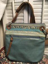 Fossil Coated Canvas Key-Per Turquoise Blue Crossbody Shoulder Handbag