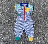 Vintage 90s Gymboree Kids Striped Color Blocked Jumpsuit Size XS