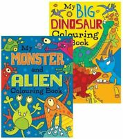 2 x A4 CHILDREN'S Dinosaur & Monster Alien WHITE PAGE COLOURING Books Fun 100gsm