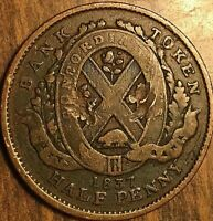 1837 LOWER CANADA UN SOU HALF PENNY TOKEN - City bank on ribbon