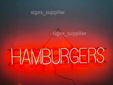 "New Hamburger Neon Sign 32"" Business Open Shop Light Lamp Decor Real Glass"